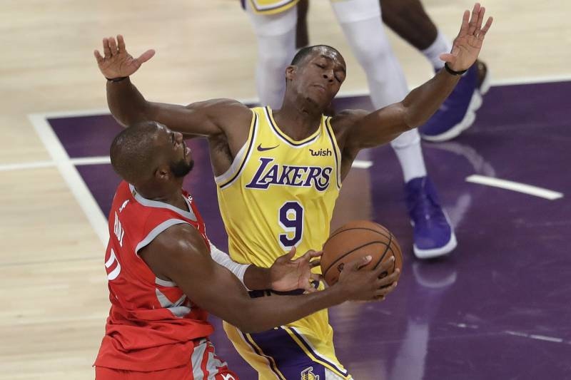 a5422efb665 Los Angeles Lakers' Rajon Rondo (9) defends on Houston Rockets' Chris Paul