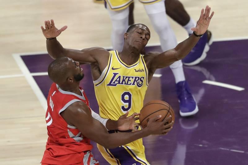 e9f365f643d3 Los Angeles Lakers  Rajon Rondo (9) defends on Houston Rockets  Chris Paul
