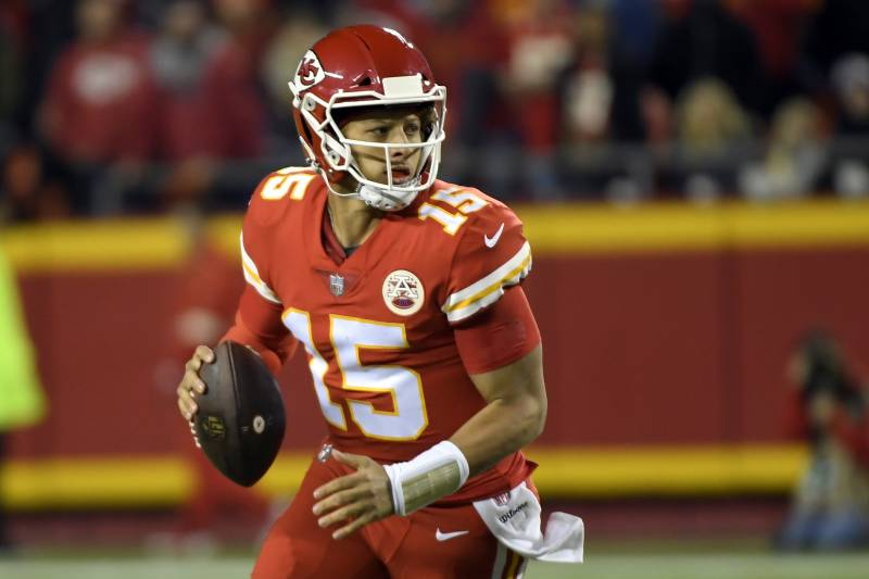 da5533ab Kansas City Chiefs quarterback Patrick Mahomes (15) scrambles with the ball  during the first