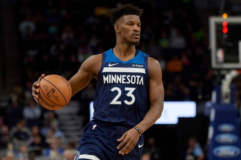 6c8ea93df66 MINNEAPOLIS, MN - OCTOBER 19: Jimmy Butler #23 of the Minnesota Timberwolves  dribbles