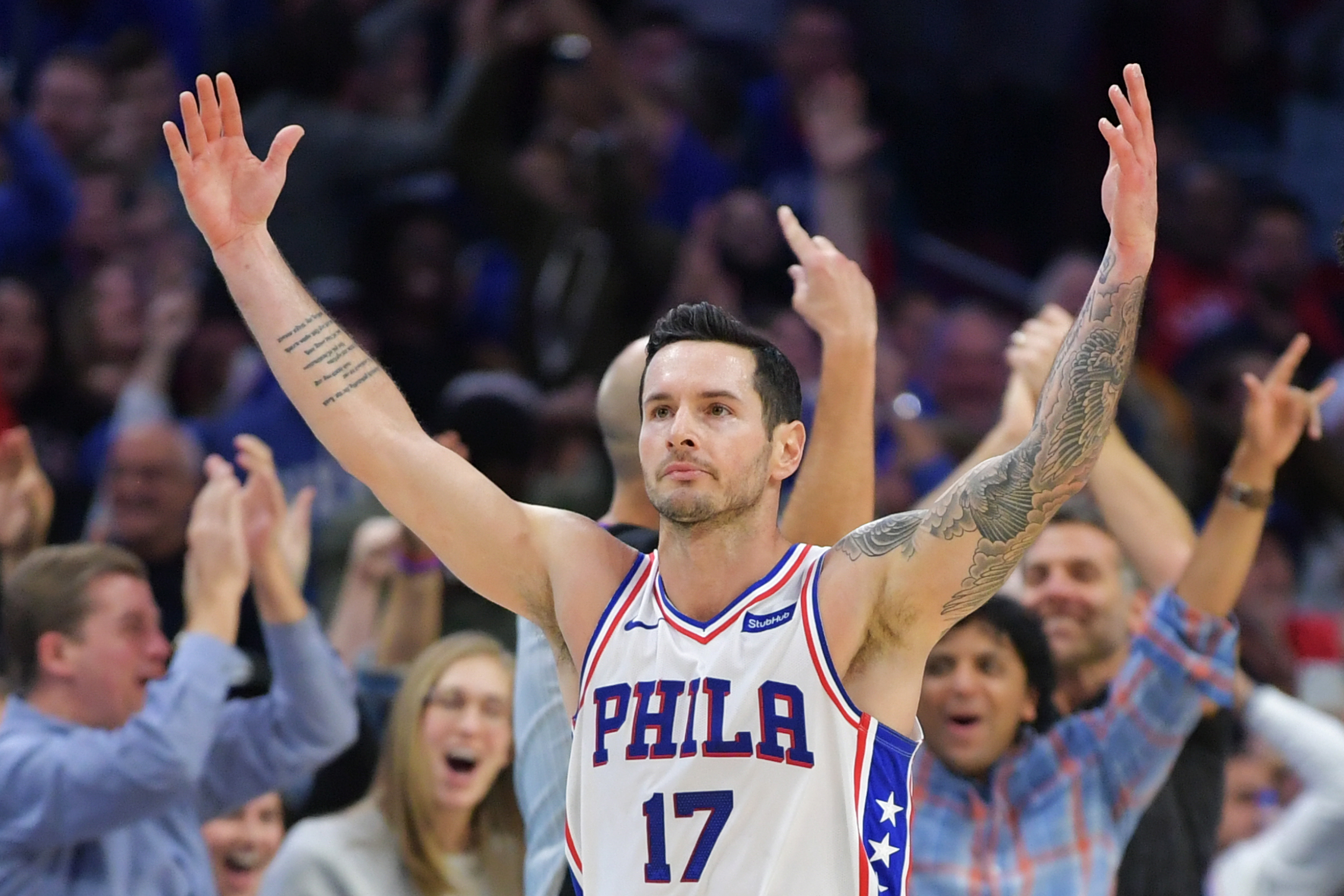 J.J Redick celebrates during a game while with the Philadelphia 76ers