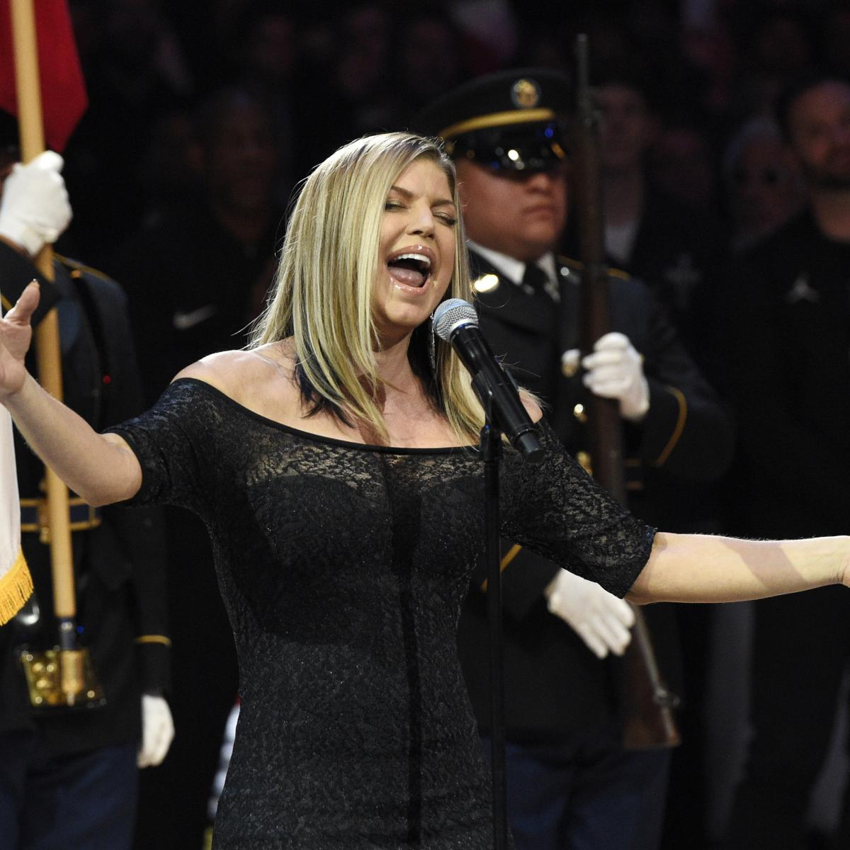 Warriors Dance to Fergie's National Anthem Remix After ... Fergie National Anthem Remix