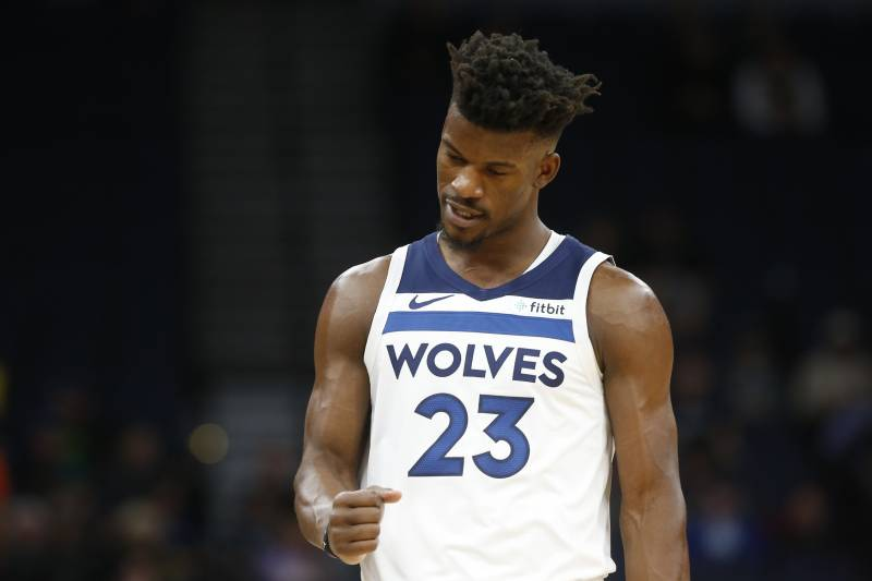 6adffee84a7d Minnesota Timberwolves  Jimmy Butler plays against the Indiana Pacers in  the first half of an