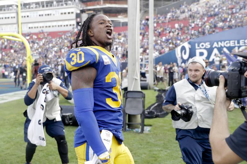 Los Angeles Rams running back Todd Gurley reacts after defeating the Green  Bay Packers in an 7913a3a39