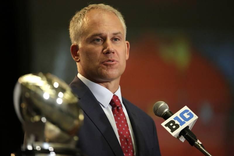 huge discount b7a55 dfc33 Maryland NCAA college football head coach DJ Durkin speaks at Big Ten Media  Day in Chicago