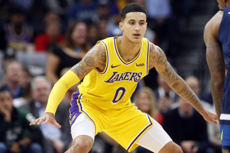 91abc12d62f Los Angeles Lakers' Kyle Kuzma plays against the Minnesota Timberwolves in  an NBA basketball game