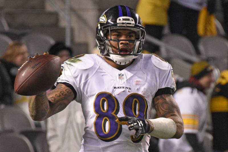 c7cc38d06fca Baltimore Ravens wide receiver Steve Smith (89) celebrates after scoring a  touchdown on a
