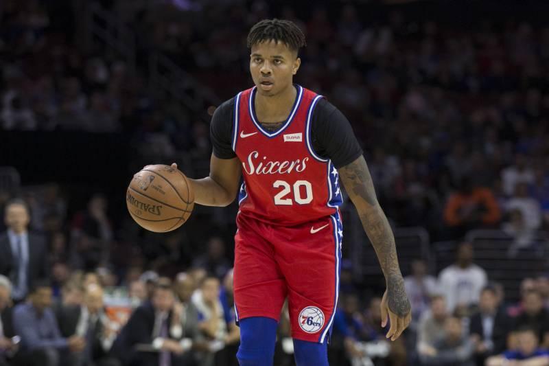 e1474d65c63 PHILADELPHIA, PA - NOVEMBER 1: Markelle Fultz #20 of the Philadelphia 76ers  dribbles