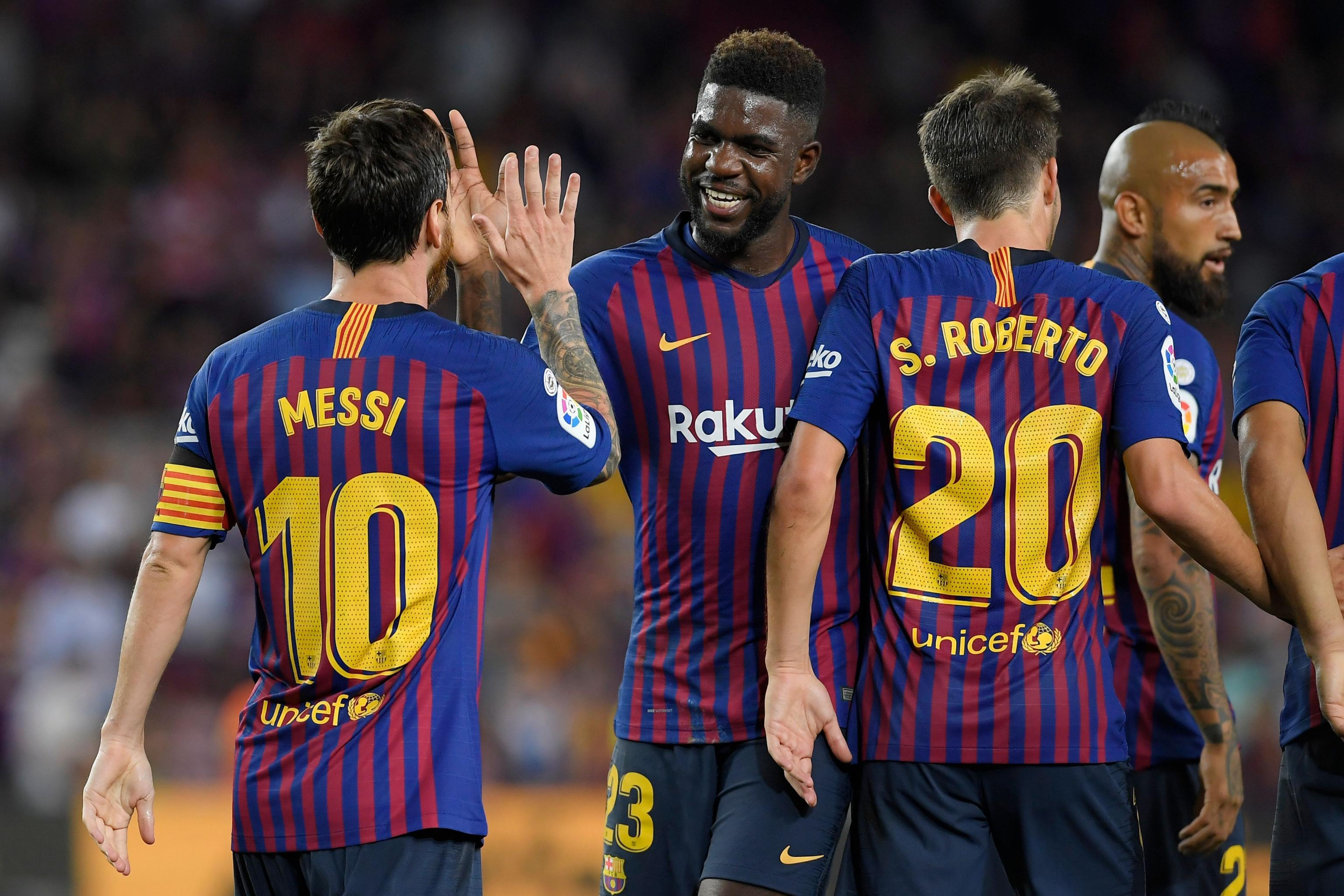 sneakers for cheap f6eb6 ccb56 Lionel Messi, Samuel Umtiti in Barcelona Squad vs. Betis ...