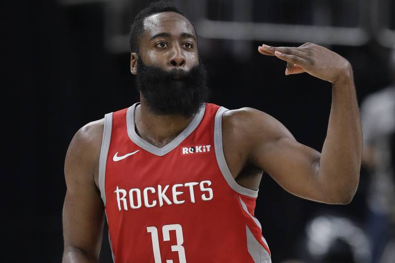 3ef414f99e57 Houston Rockets  James Harden reacts after hitting a three-point basket  during the second