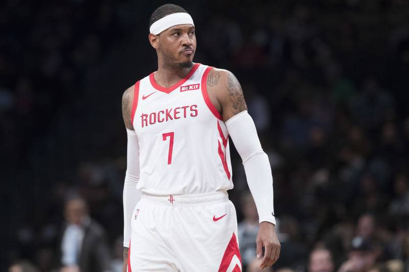 d41700b8870f Houston Rockets forward Carmelo Anthony reacts during the first half of an  NBA basketball game against