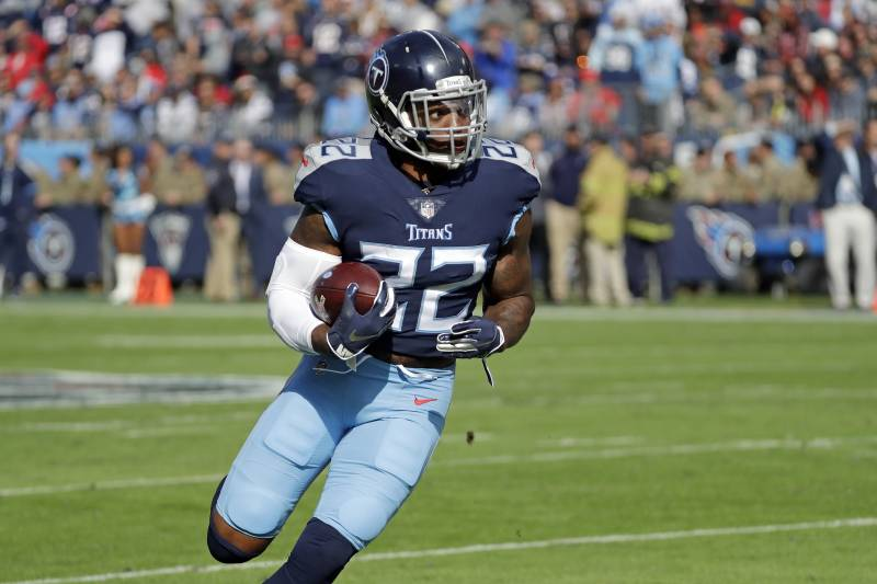 d913086ac Tennessee Titans running back Derrick Henry plays against the New England  Patriots in the first half