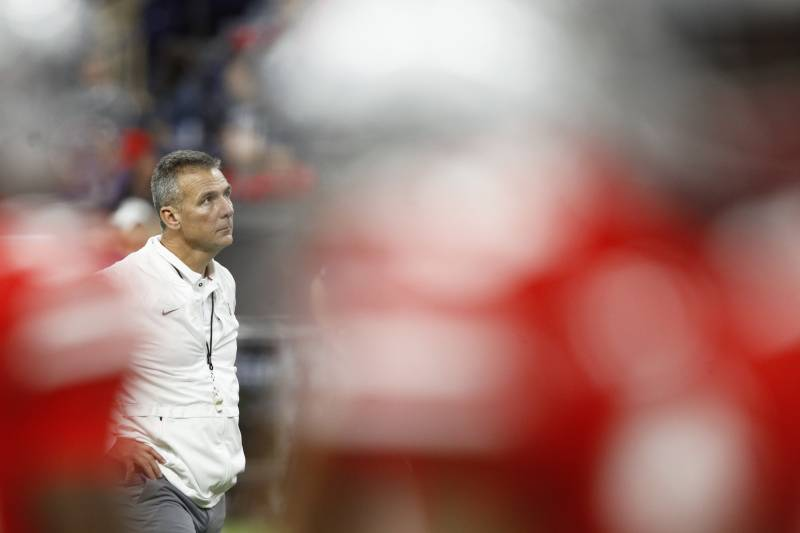INDIANAPOLIS, IN - DECEMBER 01: Ohio State Buckeyes head coach Urban Meyer looks on prior to the Big Ten Championship game against the Northwestern Wildcats at Lucas Oil Stadium on December 1, 2018 in Indianapolis, Indiana. (Photo by Joe Robbins/Getty Images)