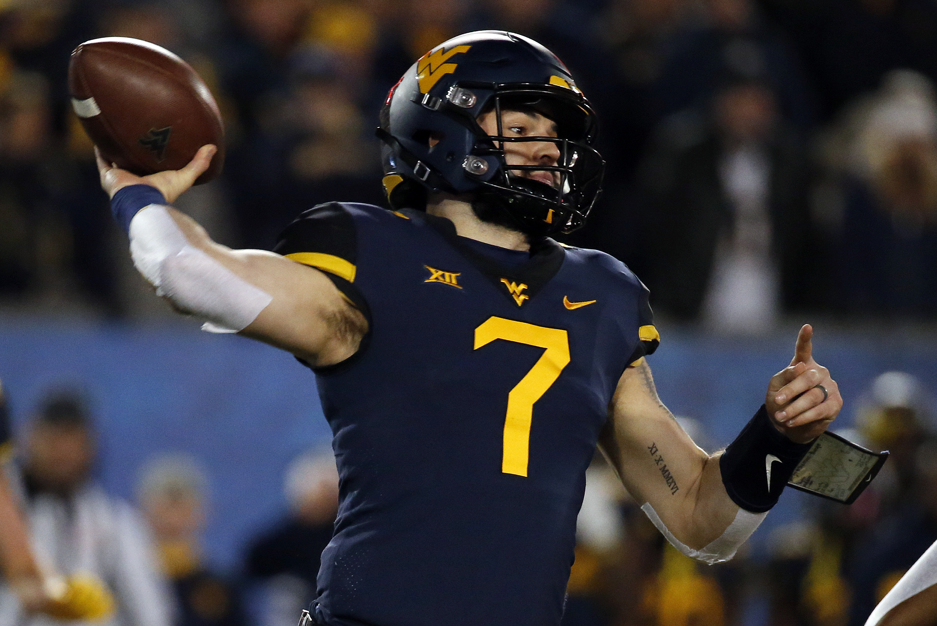 finest selection 03bd5 d7aef WVU QB Will Grier to Skip Camping World Bowl Game to Prepare ...