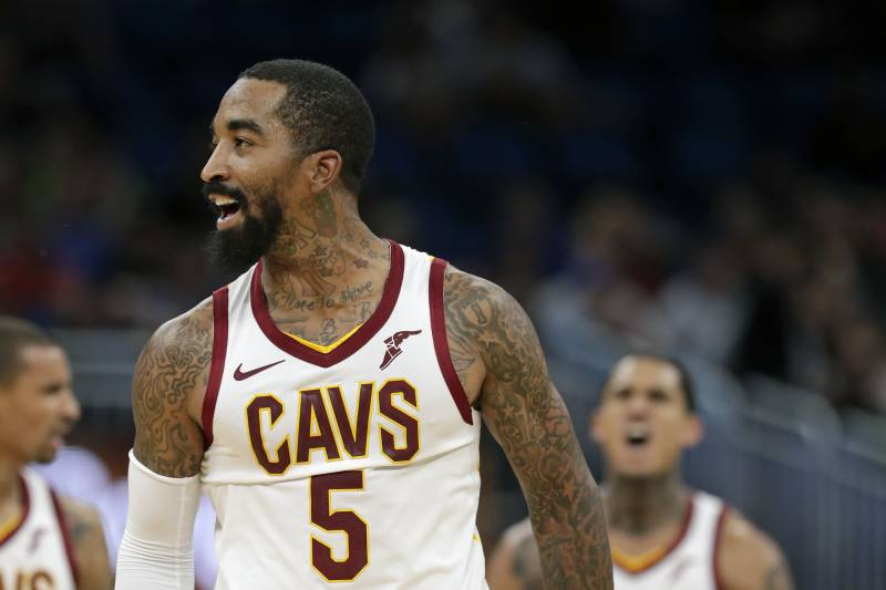 5a0f1f95c21e Cleveland Cavaliers  J.R. Smith celebrates after making a 3-point shot  against the Orlando