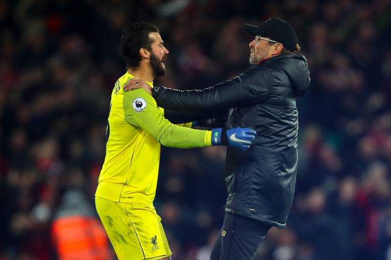 Image result for alisson and klopp