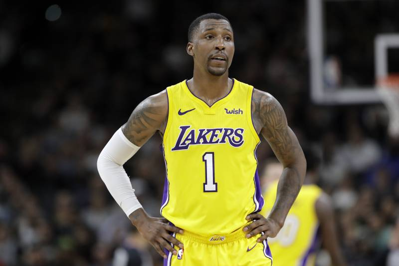 1b95c6940c77 Los Angeles Lakers guard Kentavious Caldwell-Pope (1) waits for play to  resume