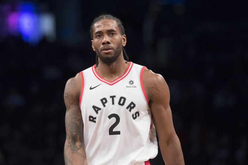 7596f9331 Toronto Raptors forward Kawhi Leonard during a pause in action in the first  half of an