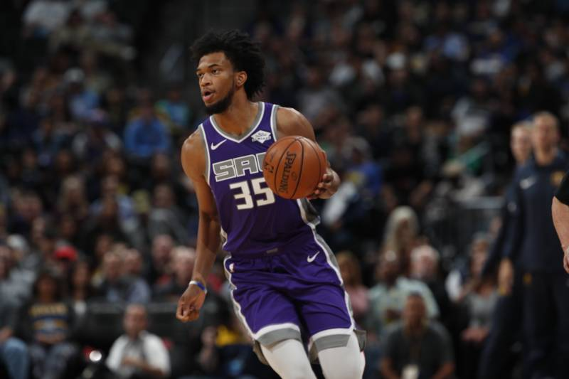Sacramento Kings forward Marvin Bagley III (35) in the first half of an NBA basketball game Tuesday, Oct. 23, 2018, in Denver. (AP Photo/David Zalubowski)