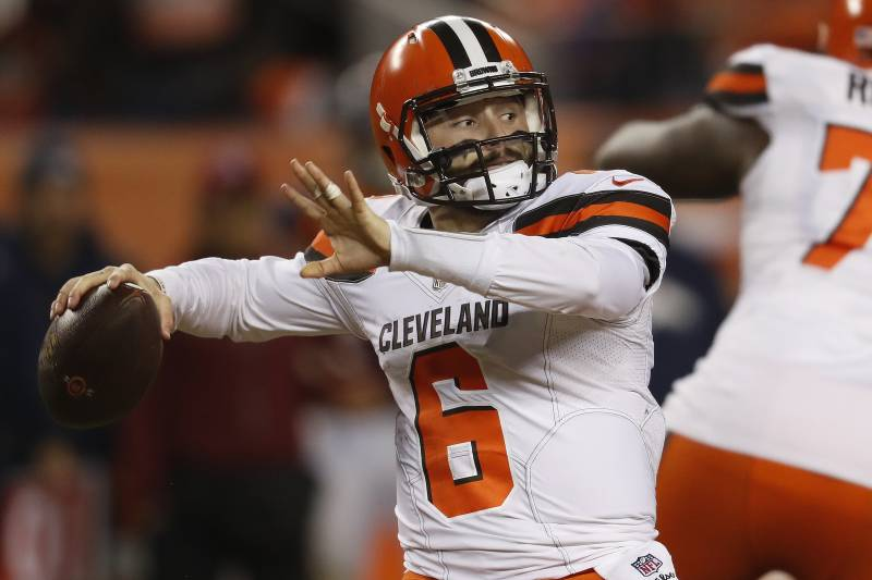 cd208baed Cleveland Browns quarterback Baker Mayfield (6) throws against the Denver Broncos  during the second