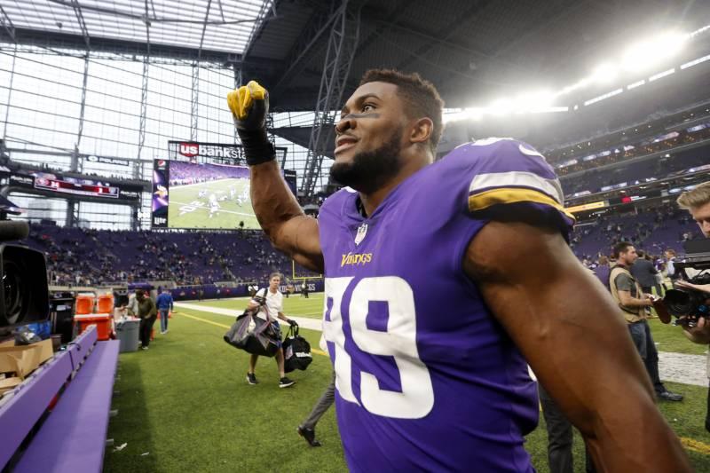 e550e24a362 Minnesota Vikings defensive end Danielle Hunter (99) walks off the field  after an NFL