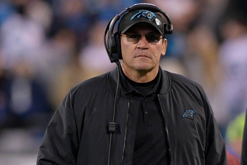 aef05616283 CHARLOTTE, NC - DECEMBER 17: Head coach Ron Rivera of the Carolina Panthers  looks