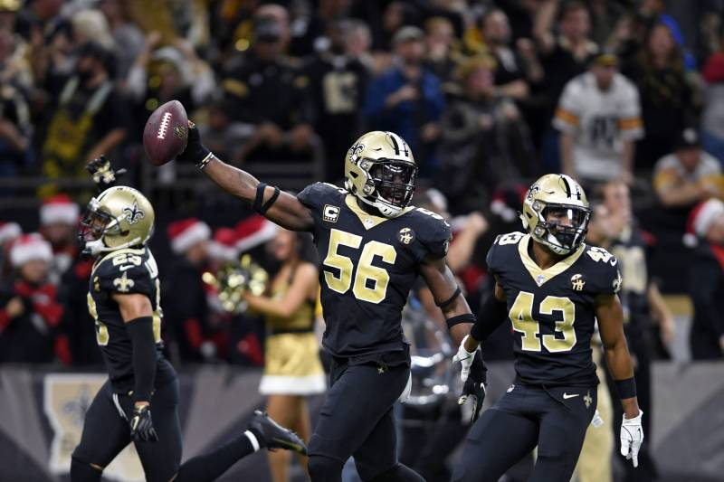 60ebcce1e73 New Orleans Saints outside linebacker Demario Davis (56) celebrates after  recoveirign a fumble in