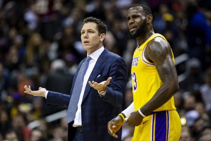 fa77f4bfd Los Angeles Lakers forward LeBron James (23) and head coach Luke Walton  dispute a