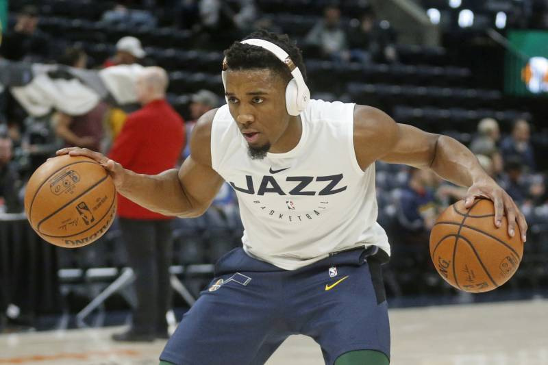 3fa7e459a Utah Jazz guard Donovan Mitchell warms up before the start of their NBA  basketball game against