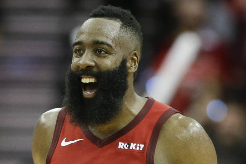 6c7e75a07ab Houston Rockets guard James Harden reacts after guard Austin Rivers   three-point basket late