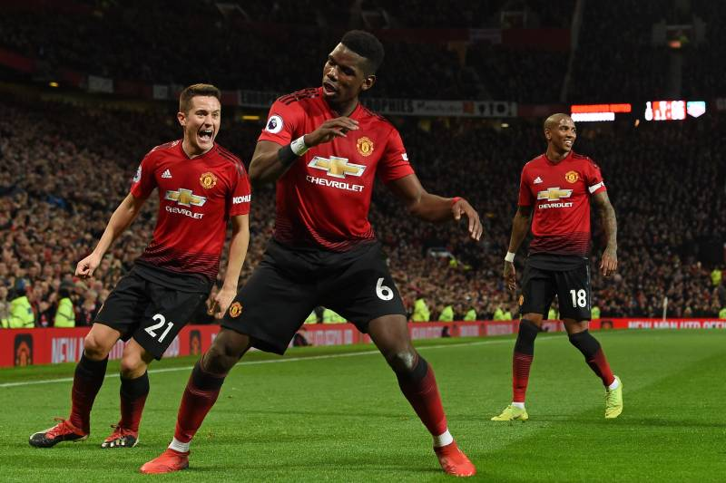ee0027705815 Manchester United s French midfielder Paul Pogba (C) celebrates after  scoring their second goal during