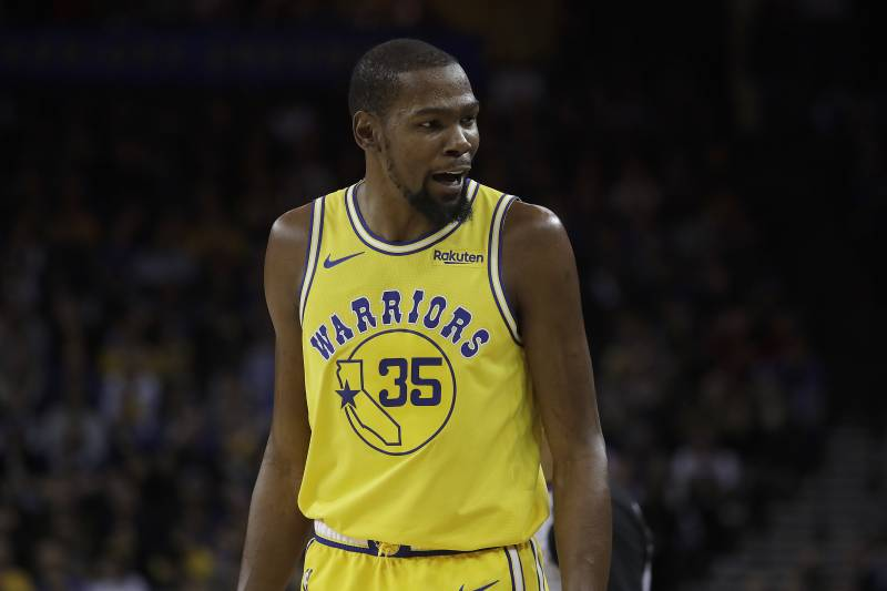 c739afa0fbfb Golden State Warriors forward Kevin Durant (35) reacts against the Portland  Trail Blazers during