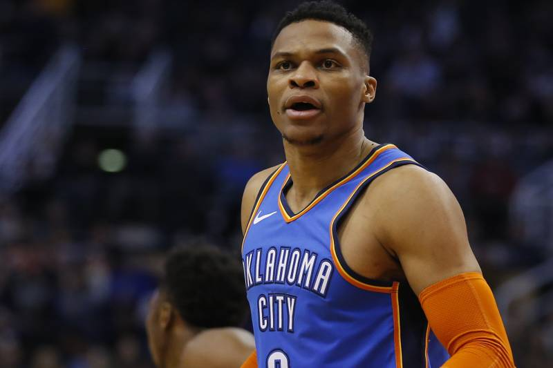 60428533142 Oklahoma City Thunder guard Russell Westbrook (0) in the first half during  an NBA