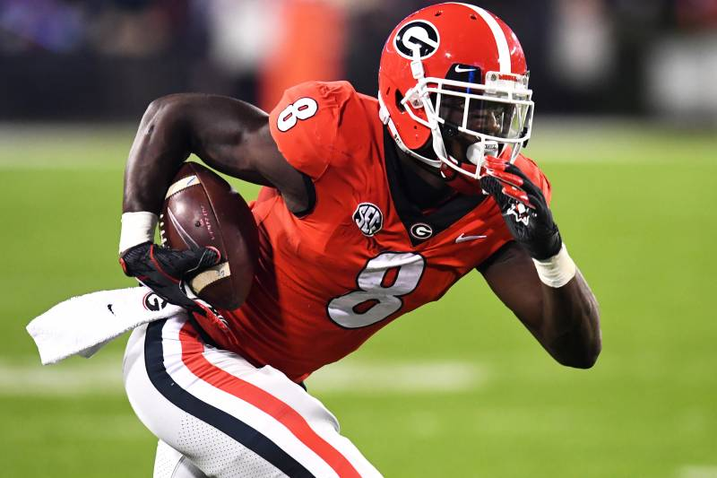 ATHENS, GA - NOVEMBER 10: Riley Ridley #8 of the Georgia Bulldogs runs with a catch against the Auburn Tigers on November 10, 2018 at Sanford Stadium in Athens, Georgia. (Photo by Scott Cunningham/Getty Images)