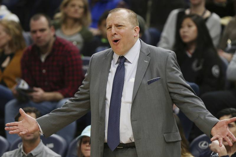 d7eceedecb2a Minnesota Timberwolves  head coach Tom Thibodeau calls out to his team  during the second half