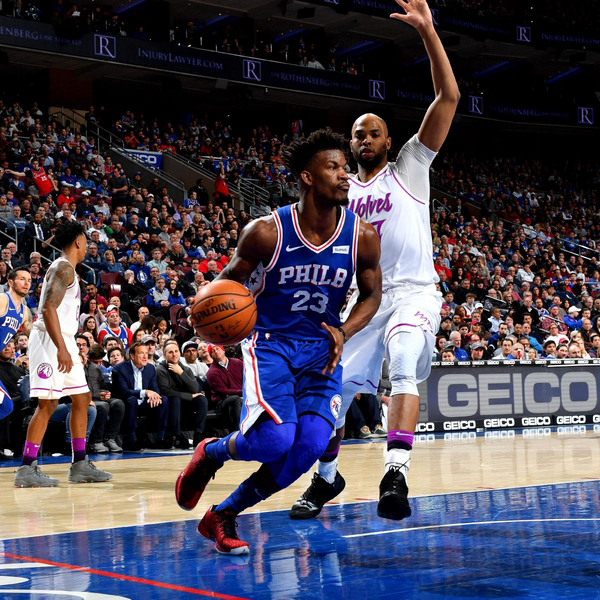 8dab9c2b468e 76ers Dominate Timberwolves 149-107 in Jimmy Butler s 1st Game Against  Minnesota