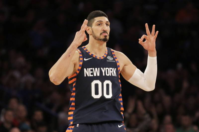 63b315a2006 New York Knicks  Enes Kanter reacts after scoring during the first half of  the NBA
