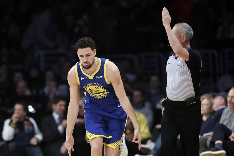 e0676599ad23 Golden State Warriors  Klay Thompson reacts after making a 3-point basket  against the