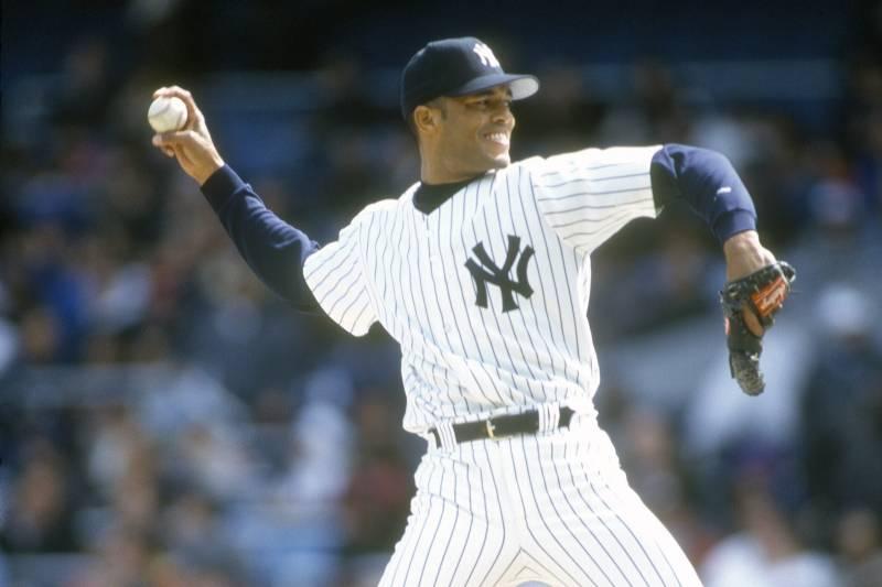 5fcdf8b0b NEW YORK - CIRCA 1996  Mariano Rivera  42 of the New York Yankees pitches