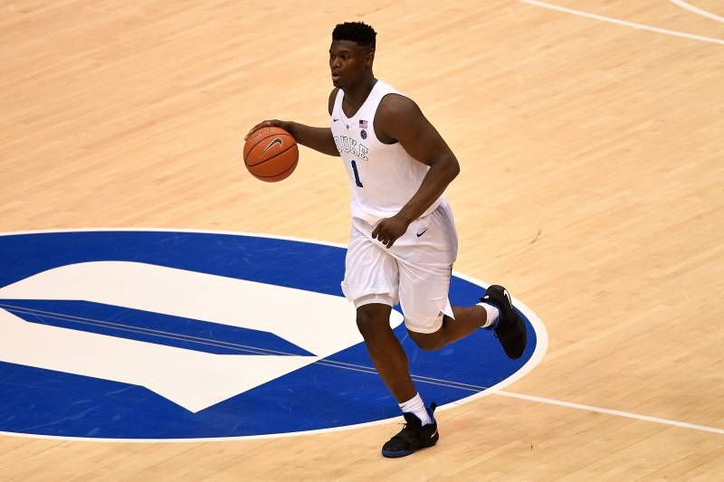 564efdb1397 DURHAM, NC - JANUARY 19: Zion Williamson #1 of the Duke Blue Devils