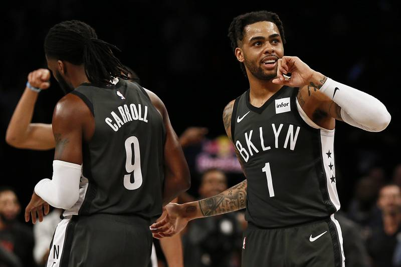 ab7edfceef6e Brooklyn Nets guard D Angelo Russell (1) reacts to a basket against the
