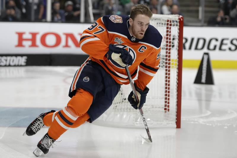 Edmonton Oilers  Connor McDavid skates during the skills competition 84b4e0b53