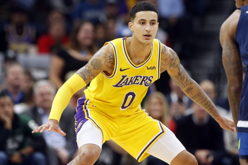 c6624795c14 Los Angeles Lakers  Kyle Kuzma plays against the Minnesota Timberwolves in  an NBA basketball game