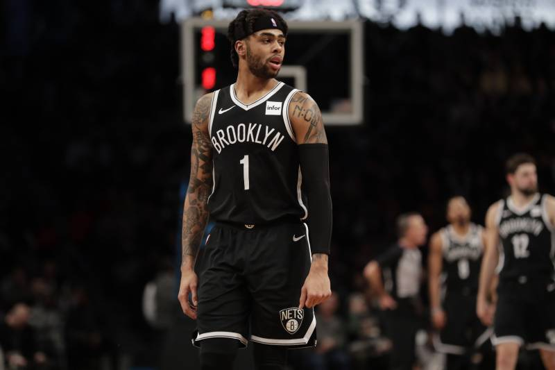 7cff46960 Brooklyn Nets  D Angelo Russell (1) during the second half of an