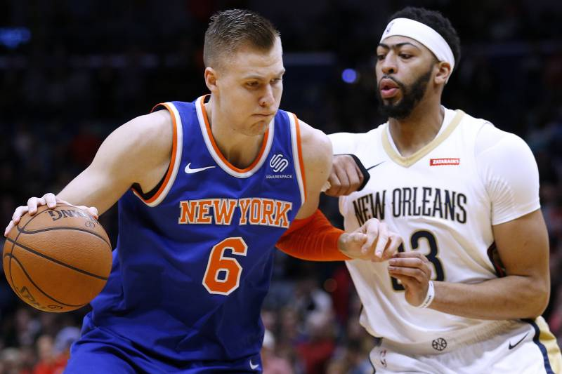 6b983283e6c0 New York Knicks forward Kristaps Porzingis (6) drives against New Orleans  Pelicans forward Anthony