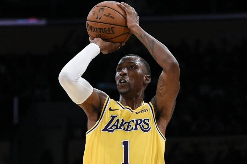 d16a52b5297 Los Angeles Lakers guard Kentavious Caldwell-Pope attempts a shot during  the first half of