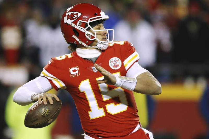 1e7f026f81b1a9 Kansas City Chiefs quarterback Patrick Mahomes throws a pass during the  first half of the AFC