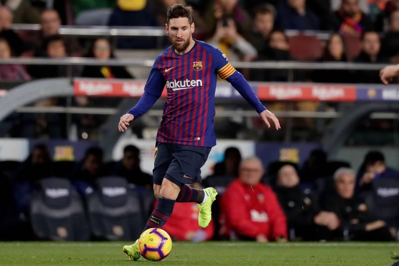 082b437d11e BARCELONA, SPAIN - FEBRUARY 2: Lionel Messi of FC Barcelona during the La  Liga