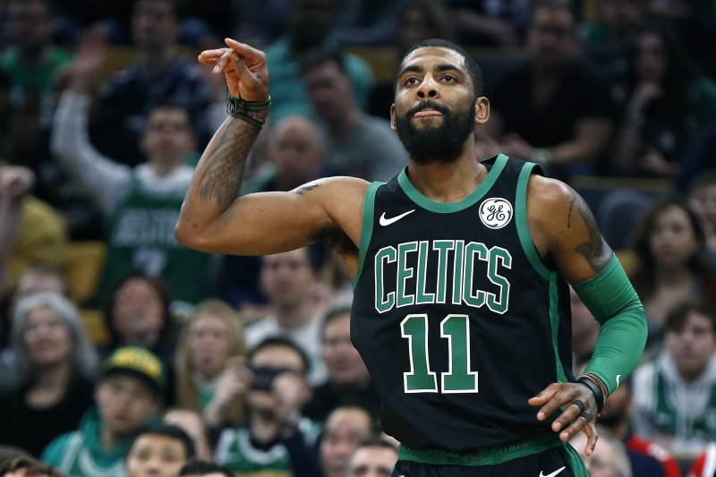 ce82dfc36a1 Boston Celtics  Kyrie Irving reacts after making a three-pointer during the  first half. Michael Dwyer Associated Press. The New York Knicks ...