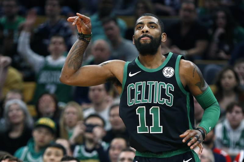 9eb9070d8ac4 Boston Celtics  Kyrie Irving reacts after making a three-pointer during the  first half